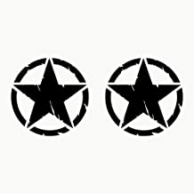 Autodomy Pegatinas 4X4 Off Road Estrella Militar Destruido US Army Ejército Varios Tamaños 10 cm 15 cm 20 cm Pack 2 Unidades para Coche (Negro, 10 Cm)