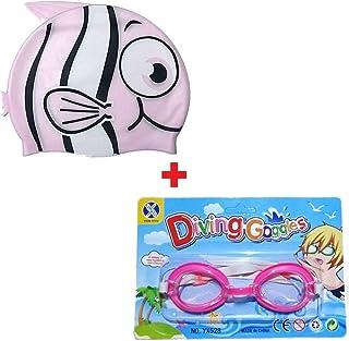 e0f0c7355 Kit Touca Infantil Esporte + Óculos Natação Peixinho Rosa Piscina Nadar  Colégio Escola Frete Grátis todo