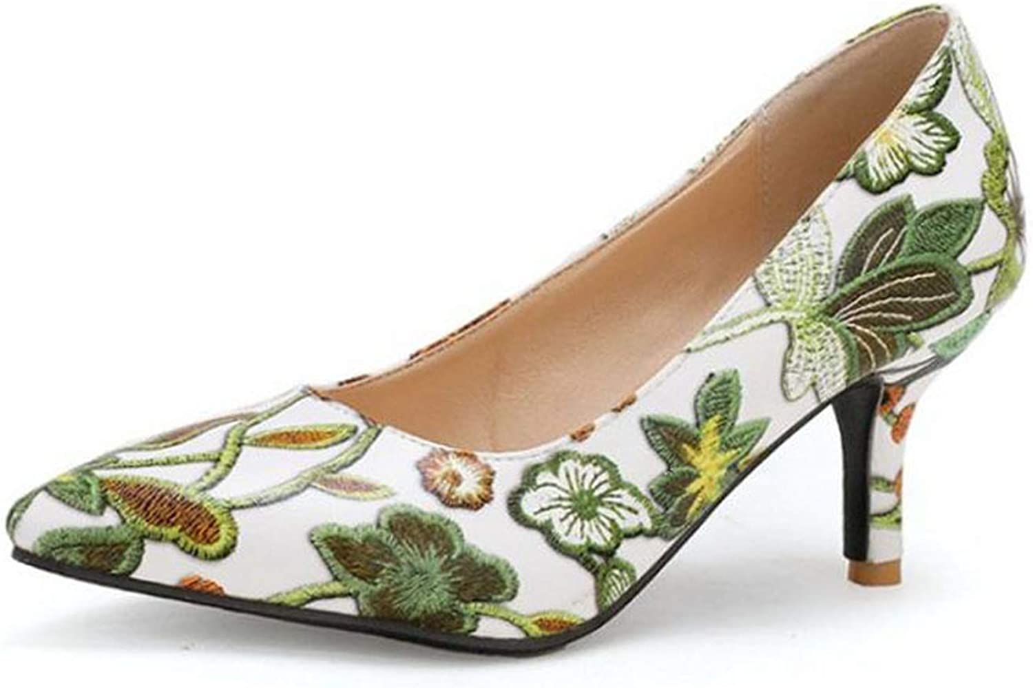 Mao YiE Women's High Heels Pumps Embroidery Flowers Slip On Pointed Toe Pumps shoes Women