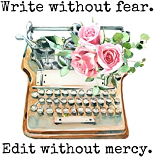 Write Without Fear Edit Without Mercy: Blank Lined Journal With Cute Floral Vintage Typewriter, To Write In, Take Notes, A...