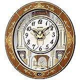 セイコークロック 置き時計・掛け時計 天然色木地 46.3×42.5×10.6cm 電波 アナログ からくり トリプルセレクション メロディ RE580B