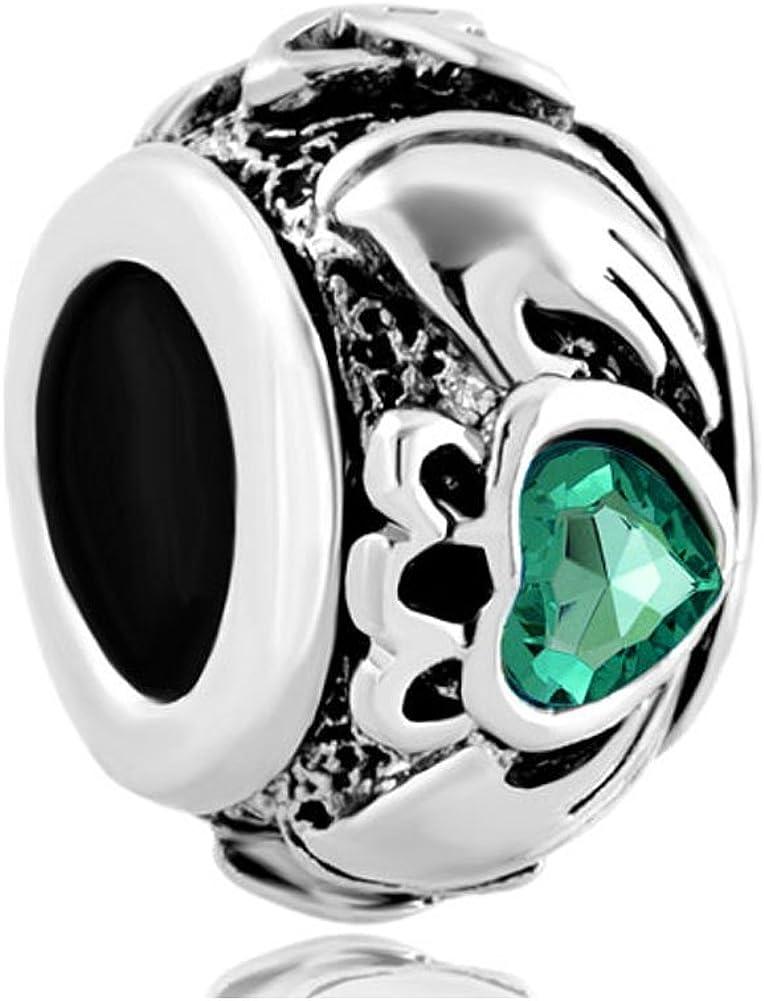 LovelyJewelry Celtic Friendship Claddagh Best Friend Charm Green Synthetic Crystal Beads for Bracelet