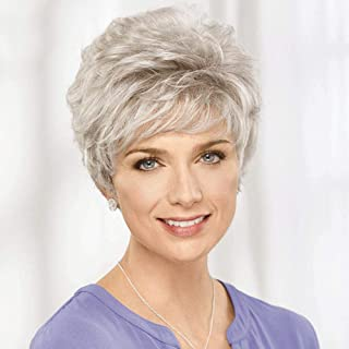 Emmor Short Silver Grey Human Hair Blend Wigs for Women -Mixed Natural Real Hair & Healthy Memory Fiber Wig, Lightweight/L...