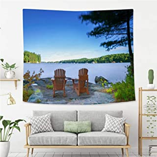 BEIVIVI Creative Custom Tapestry Cottage Life Muskoka Chairs Facing a Lake Wall Art Decoration for Bedroom Living Room Dorm, Window Curtain Picnic Mat