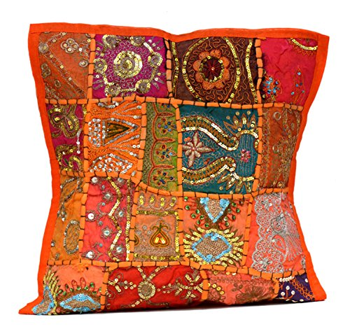 (Orange)   An Ethnic Embroidery Sequin Patchwork Throw Pillow Cases Cushion Cover (Orange)
