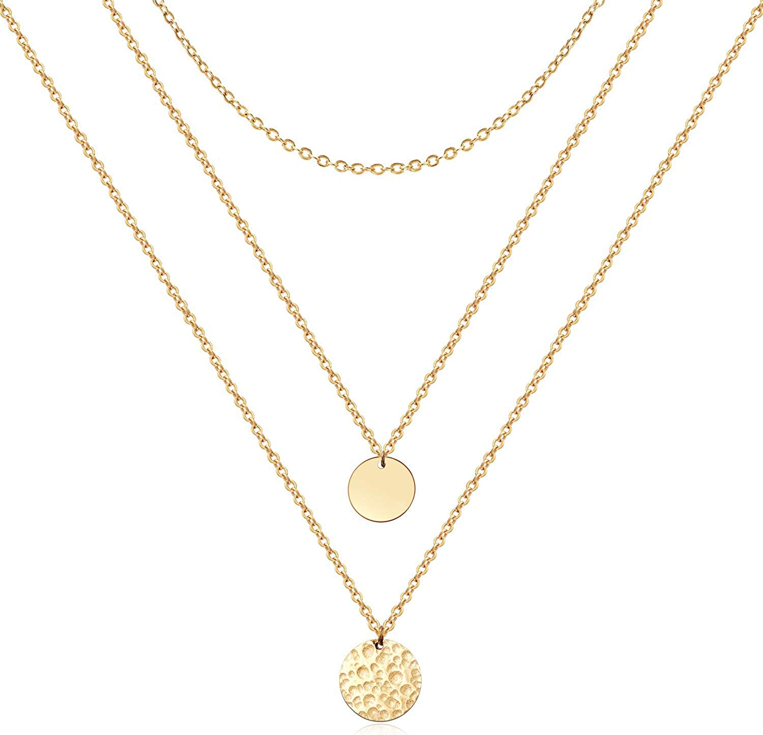 Forevereally Dainty Disc Chokers Necklace Layered Circle Necklace Bar Y Pendant Necklace 14K Real Gold Plated Necklace for Women
