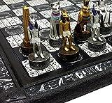 HPL Egyptian Anubis Chess Set Gold & Silver Painted Men W/ 16' Hieroglyphic Board