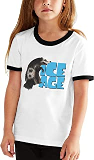 Wokeyia Patchwork T Shirt for Boy's Ice Age Black T-Shirt Contrast Tee