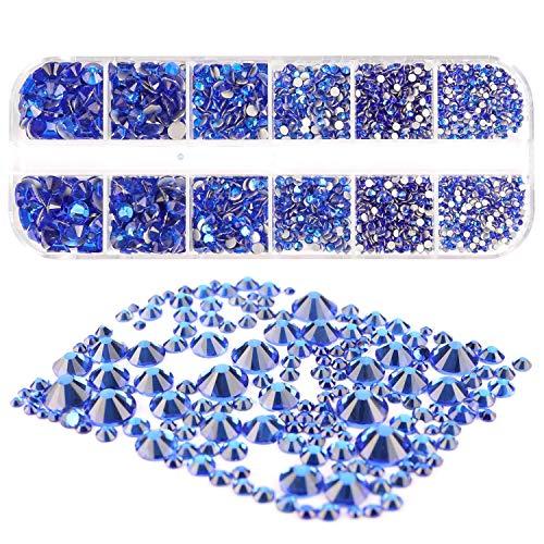 Mwoot 2000 Stück Steinchen, Glitzersteine in 6 Größen (2-5mm), Strassstein Set mit Pinzette und Picking Stift für Nageldesign Blau