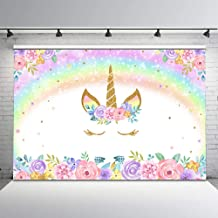 Mehofoto Rainbow Unicorn Backdrop Gold Unicorn Birthday Photo Backdrop 7x5ft Glitter Bubble Pastel Rainbow Floral Photography Background for Children's Birthday Decorations Party Studio Props