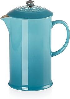 Le Creuset Kaffebryggare/fransk press med pressinsats i rostfritt stål, 800 ml, stengods, karibik (turkos)