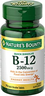 Nature's Bounty Vitamin B12 Supplement, Supports Metabolism and Nervous System Health, 2500mcg, 75 Tablets