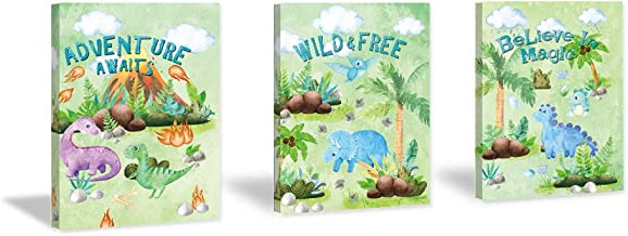 HPNIUB Watercolor Dinosaur Art Print Adventure Awaits Painting Set of 3 Pieces (11.8x15.6inch) Canvas Colorful Wildlife Po...