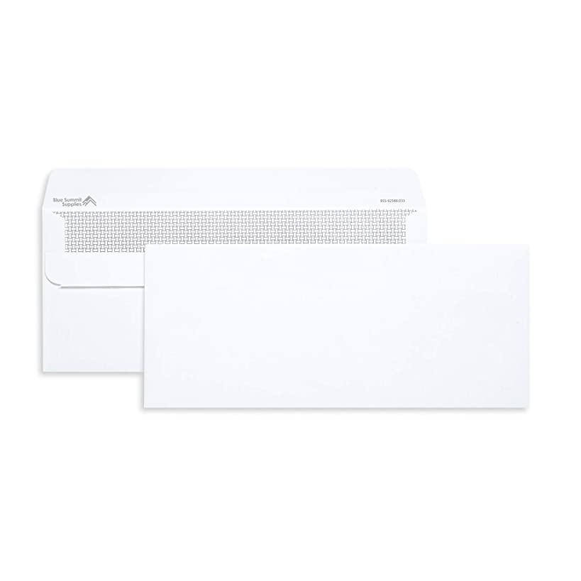 Blue Summit Supplies 500 Number 10 Envelopes Self Seal - #10 Business Envelopes Letter Size - Security Tint - Flip and Seal Flap - 4 1/8 x 9 1/2-500 Count
