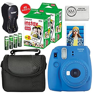 Fuji Instax Mini 9 Camera Cobalt Blue + Carry Case + Rechargeable AA Batteries & Charger + Instax Mini Film (40 Sheets)