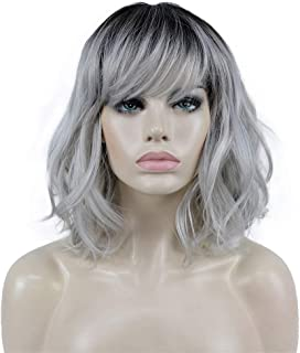 Aimole Wavy Wigs with Bangs Medium Length Grey Hair with Dark Roots Premium Synthetic Lightweight Soft Heat Resistant Wowe...