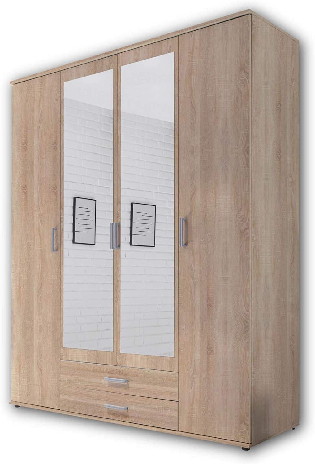 el espacio de almacenamiento a granel armario puerta con bisagras multifuncional con dos cajones,White-3 doors Armario con espejo Puerta cl/ásica