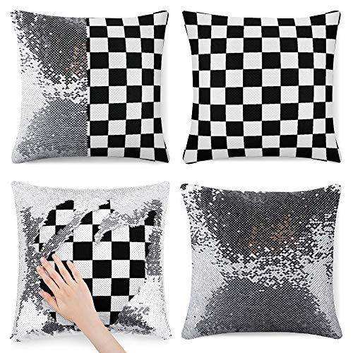 Tamengi Sequin Pillow Cover, Checkered Black and White Round, Zipper Pillowslip Pillowcase, Decorations for Sofas, Armchairs, Beds, Floors, Cars
