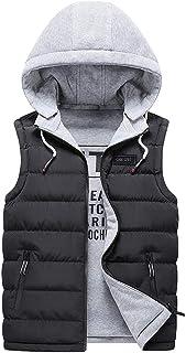 WSPLYSPJY Mens Winter Solid Color Hoodies Sleeveless Slim Fit Down Vest Jackets
