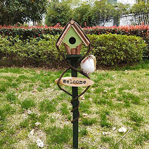 Birdhouse Wooden Bird Table Garden Birdhouse Sheltered Feeding Station Free Standing Feeding Table Station Bird House Garden Ornament (Color : Green, Size : 68X10 cm)