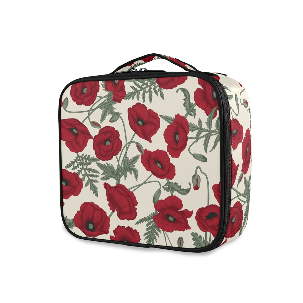35% OFF OTVEE Vintage Red Poppy safety Flowers Makeup Cosmetic Bag Travel L