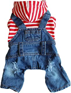 DOGGYZSTYLE Pet Dog Cat Clothes Blue Striped Jeans Jumpsuits One-Piece Jacket Costumes Apparel Hooded Hoodie Coats for Sma...