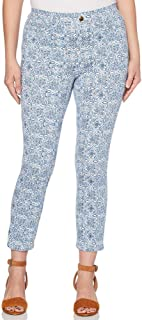 Perry Ellis International, Inc. Rafaella Womens Size 18 Comfort Stretch Printed Knit Twill Skinny Ankle Pants, Provence