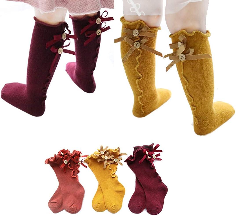10 Pairs/5 Pairs/3 Pairs Newborn Baby Litter Girl Toddler Knitted Knee High Cotton Socks 0~5t (3t-5t, 5 Pair/light)