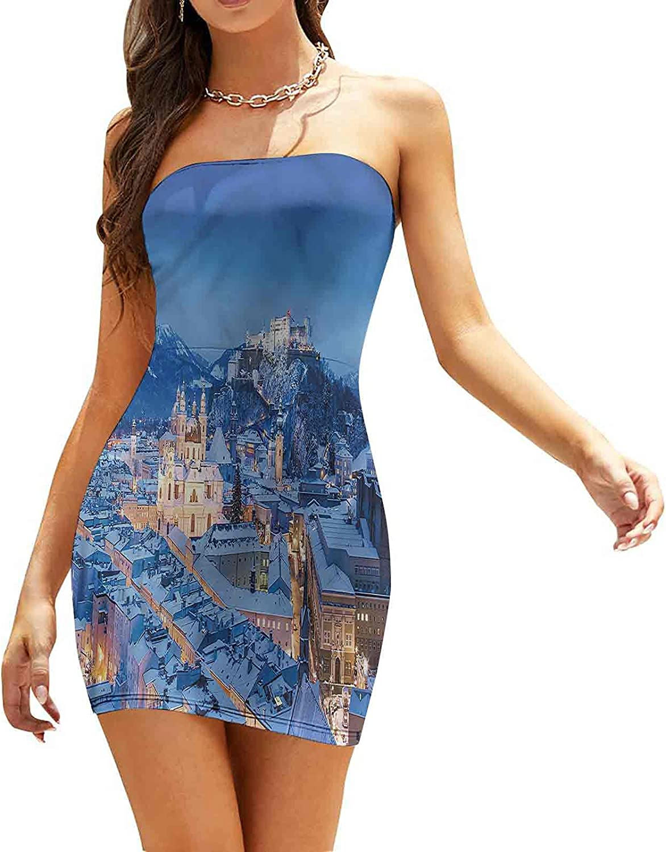 Women's Sleeveless Sexy Tube Top Dress Heart Shaped Branches Sky Dresses