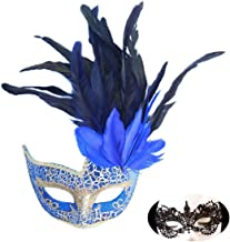 Venetian Masquerade Carnival Mask Women's Sexy Glitter Halloween Ball Mask Christmas Costume Party Mask Feather with Gift