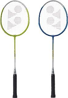 Yonex GR 201 Pack of 2 Aluminum Strung Badminton Racquet(Blue/Lime) with Head Cover