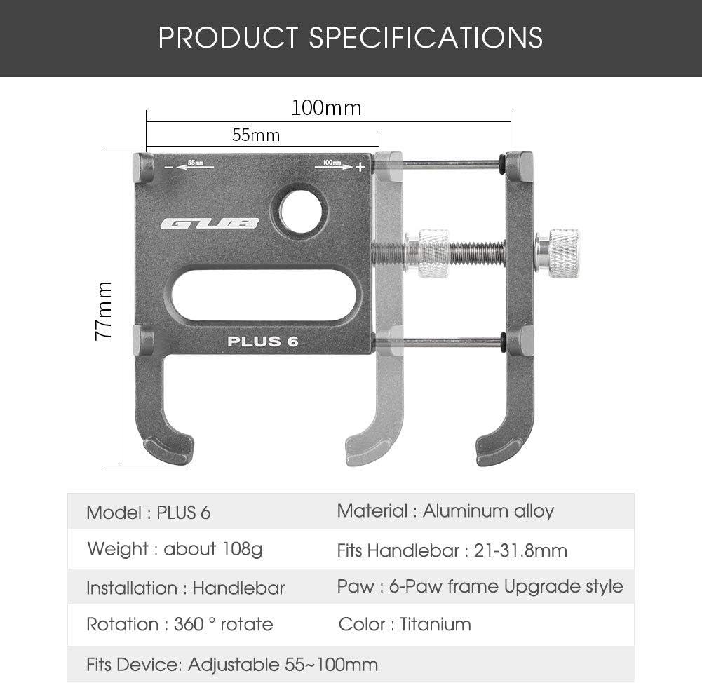 Movigor Bike Phone Holder 360/° Rotation Aluminium CNC Bicycle Phone Mount MTB Mountain Bike Motorcycle Handlebar Clip Stand Fits for 3.5-6.5 iphone Samsung Huawei Xiaomi Smartphone