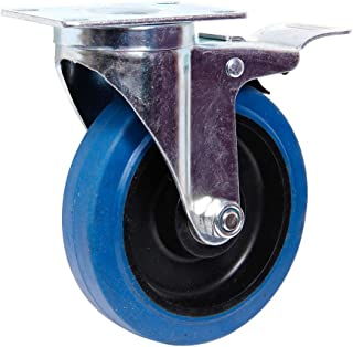 Alsino, TR-06c, transportwielen, zwenkwielen, zwenkwielen, rem 75-100-125, blauw wit, (stuurwiel m. remblauw, 100 mm)