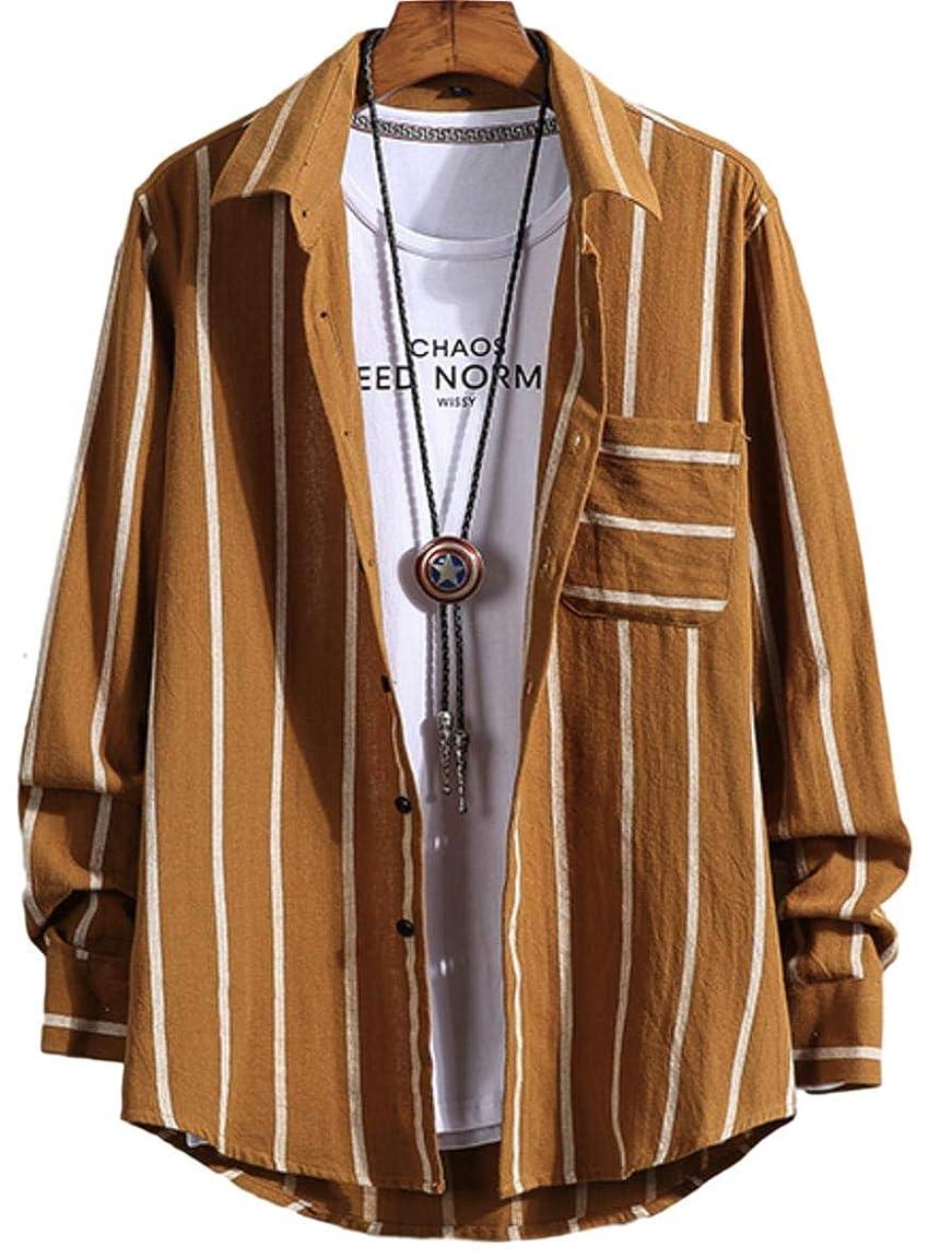 株式統合する交渉する[ラッキーチャーム] 長袖 ストライプ レギュラーカラー カジュアルシャツ ワイシャツ ビジカジ メンズ