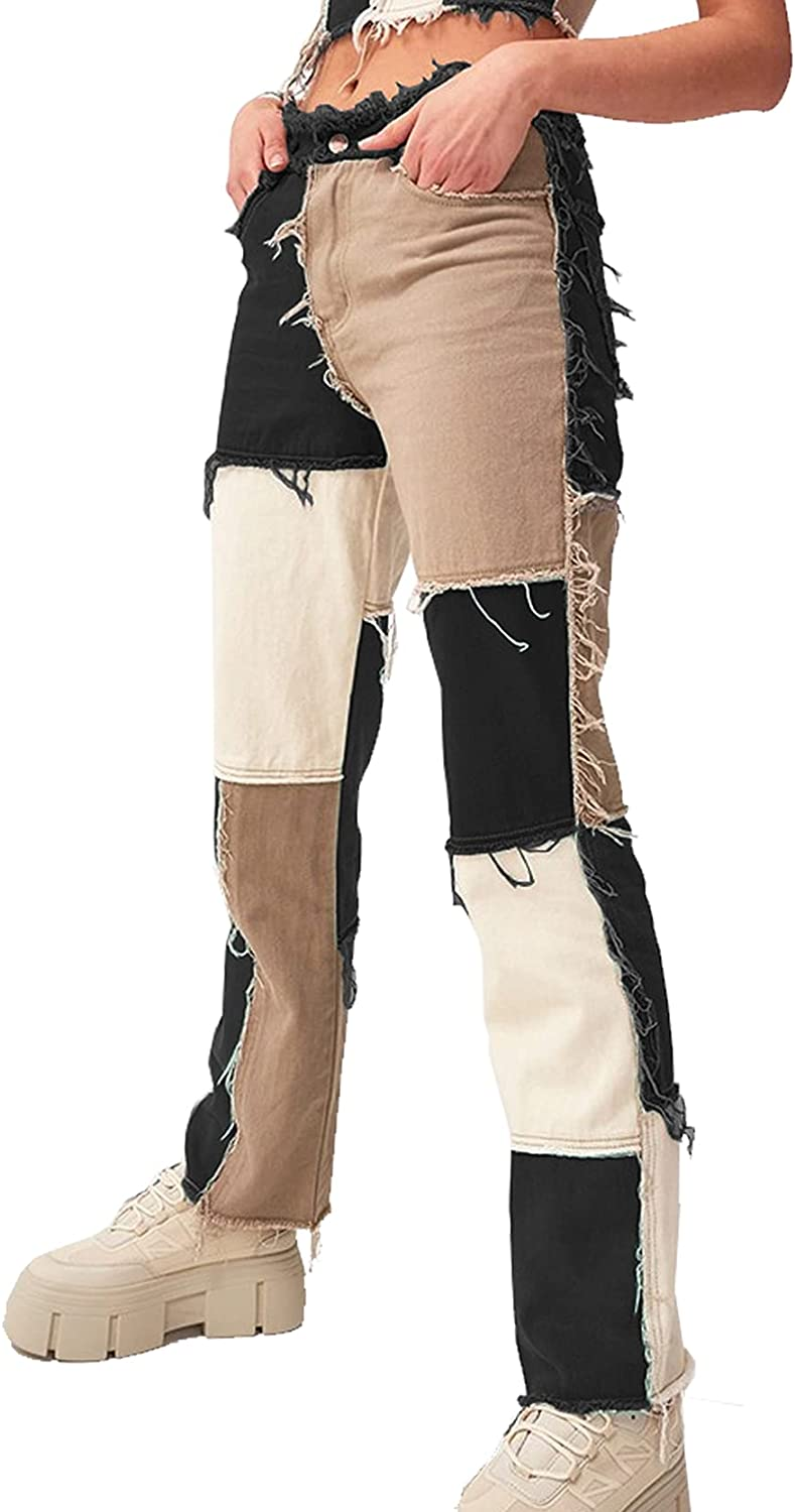 TWFRHC Womens Patchwork Jeans Mid Rise Distressed Straight Leg Stretch Frayed Denim Pants