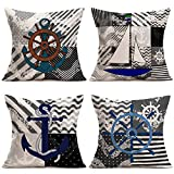 Hopyeer Black Grey Ocean Nautical Theme Throw Pillow Covers Sea Wave Background Nautical Anchor Sailboat Rudder Accent Decorative Pillowcase Home Sofa Decor Cushion Cover 18'x18',4Pack (GO-Nautical)