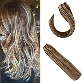 Sunny Remy Clip in Hair Extensions 16 inch Light Brown Highlighted With Medium Blonde Dip Dye Clip in Remy Hair Extensions Full Head Human Hair 7pcs 120 gram