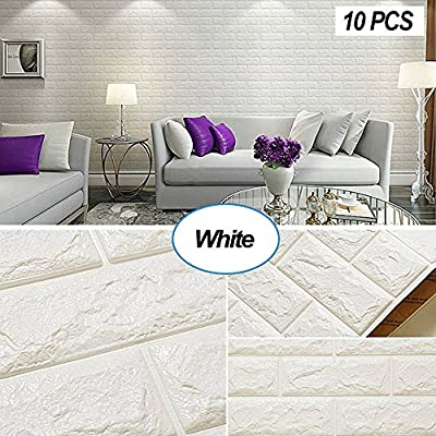 Masione 3D Self-Adhesive Wall Panels Faux Foam Bricks Wallpaper for TV Walls/Sofa Background Wall Decor