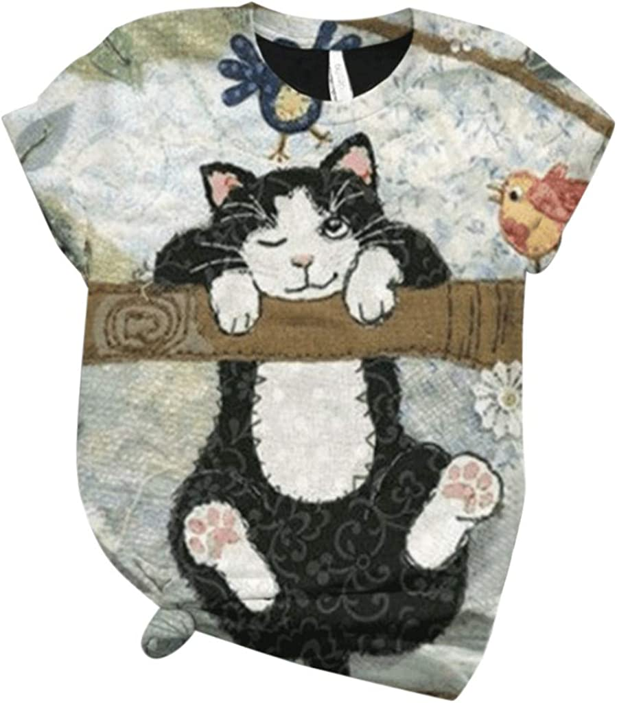 Womens Short Sleeve Tops, naioewe Shirts for Women Cute Animal Print Cat T-Shirt Casual Short Sleeve O-Neck Blouse Tees