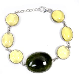 Green Serpentine And Yellow Lemon Quartz 111.40 Ct Oval 925 Sterling Silver Chain Bracelet Mother's Day Presents By Orchid...