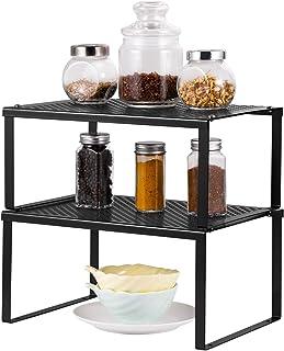 Kitchen Cabinet Shelf Organizer, Set of 2 Metal Kitchen Counter Spice Rack, Expandable & Stackable (Black)