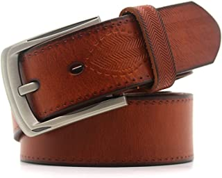 Men's Belt Classic Genuine Leather Dress Belt with Single Prong Business Casual (Color : Orange, Size : M)