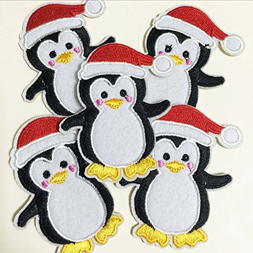 10pcs X'mas Penguin Christmas with Santa hat Iron On Sew On Cloth Embroidered Patches Appliques Machine Embroidery Needlecraft Sewing Projects