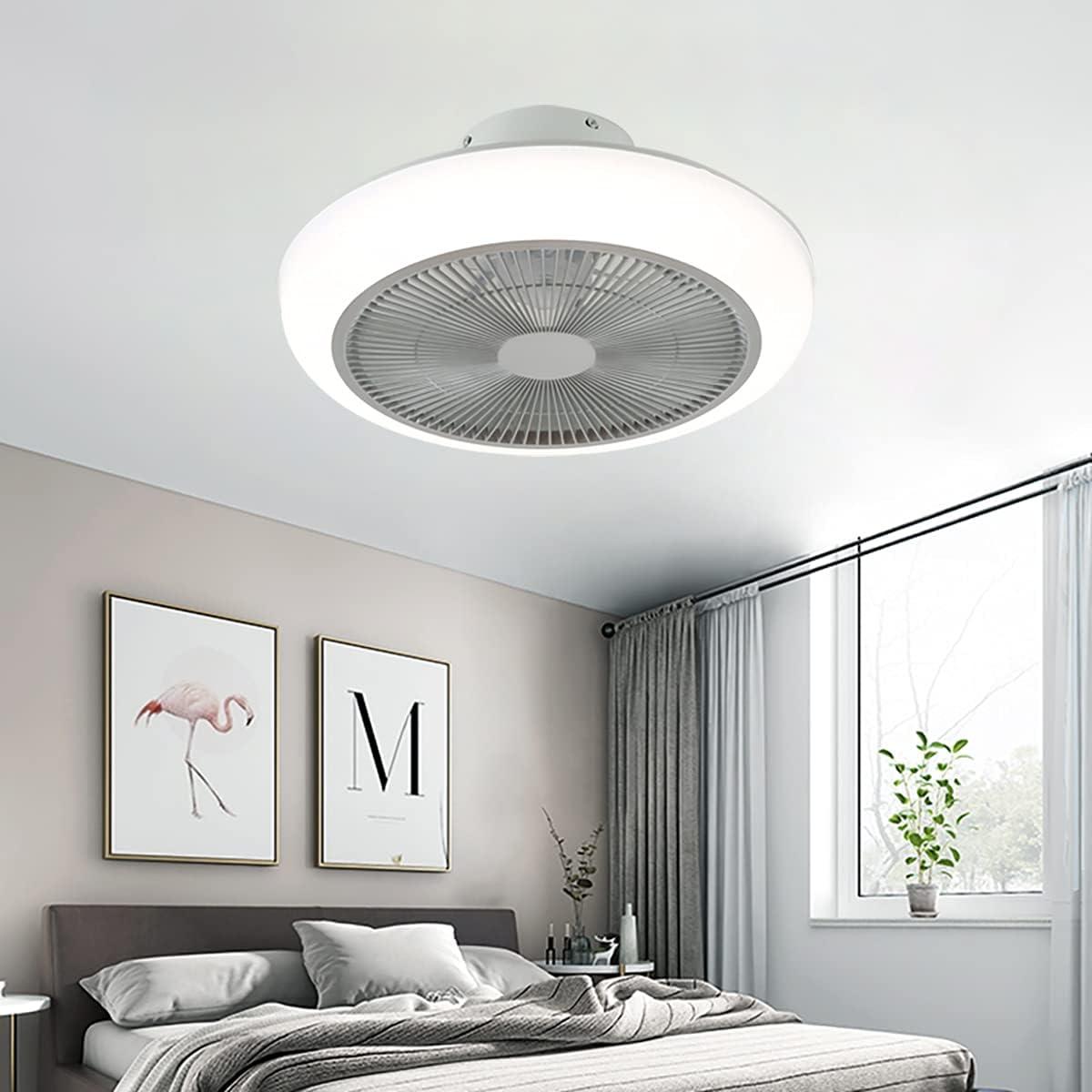 Ventilador De Techo Ultra Silencioso Ventilador De Techo Con Luz Y Mando A Distancia Pequeña Plafón Led Regulable Iluminación Interior Velocidad Del Viento Ajustable Lámpara Decorativa