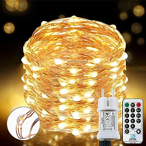 [220 LED] Lichterkette, 25M 8 Modi lichterkette außen strom...