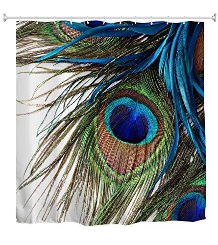 Goodbath Shower Curtain,Peacock Feather Eye Waterproof Fabric Bathroom Shower Curtains,72 x 72 Inch, Colorful
