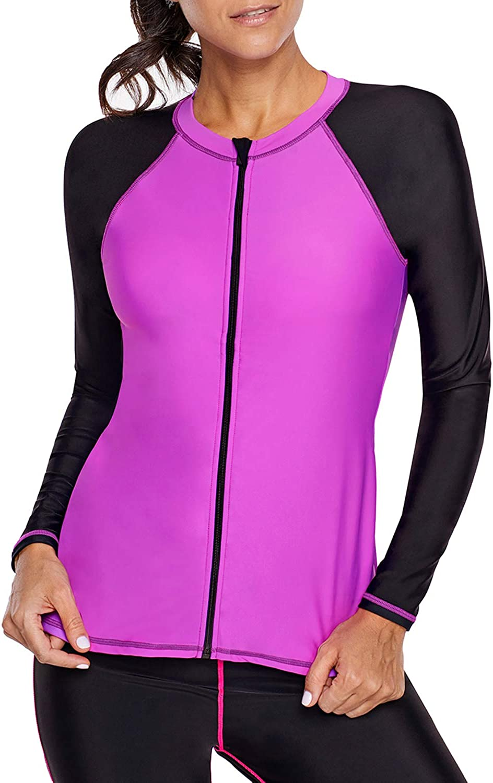 Eytino Women Rashguard Long Sleeve Zip UV Predection color Block Surfing Swimsuit Swimwear Tops(S3XL)