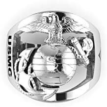 product image for 18K White Gold Marine Corps Ring with Open Back Eagle Globe and Anchor, USMC and MGySgt Rank MR40