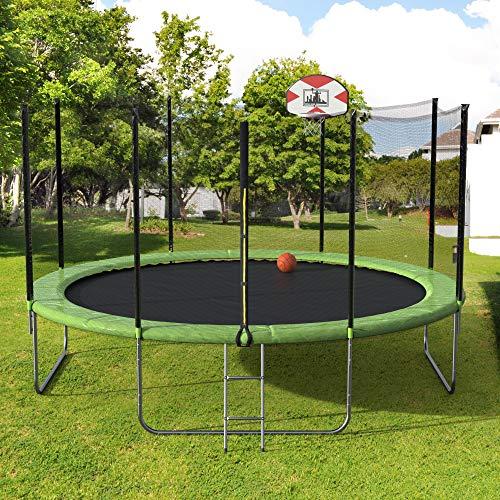DERCASS Round Trampoline 14-Foot with Basketball Hoop & Jumping Mat & Safety Pad & Ladder & Safety Enclosure Net Outdoor Backyard for Kids Jump Power (Green, 14ft)