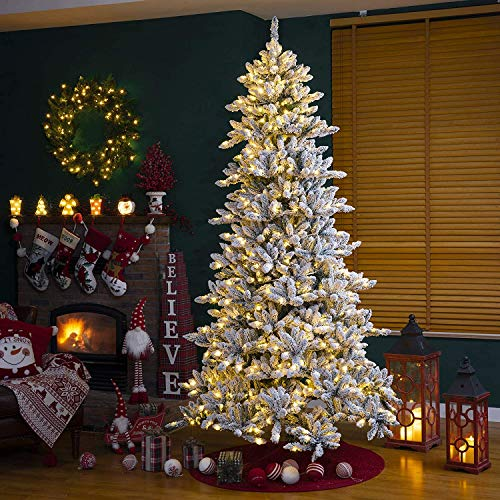 Glitzhome Pre-lit Artificial Christmas Tree with Warm White Lights, 9ft, Snow Flocked,GH20094